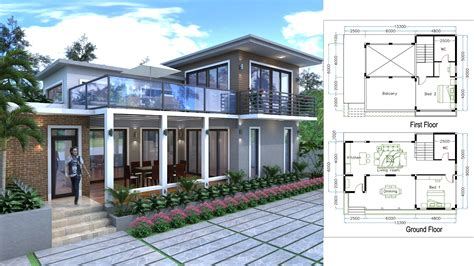 sketchup drawing villa design size mxm bedroom house plan map