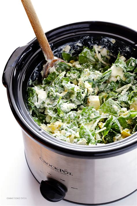 fresh cooker recipes slow cooker spinach artichoke dip gimme some oven