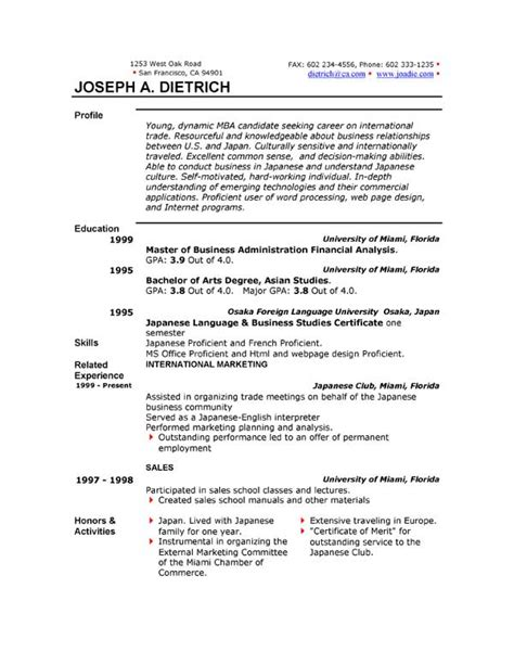 Templates For Resumes Microsoft Word by Resume Format Resume Format Microsoft