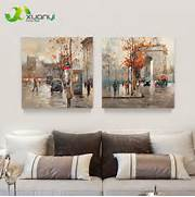 Living Room Canvas Art by Buy 2 Pieces Canvas Art Modern Painting Street Landscape Oil