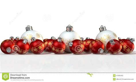 ornate matte white and red christmas baubles stock photo