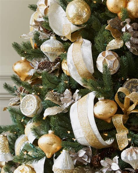 silver  gold christmas tree christmas tree decorating