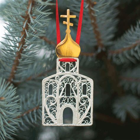 silver plated filigree christmas ornament russian dome