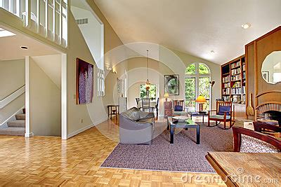 Living Room With Home Library Stock Photo  Image 41077428