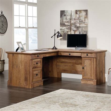 l shaped oak computer desk sauder palladia l shaped computer desk in vintage oak 420606