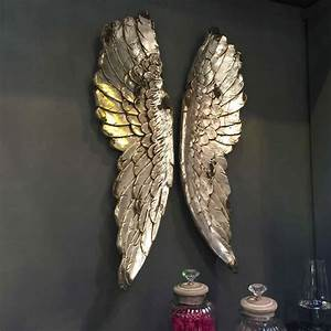 Angel wings large antiqued grey silver or gold wall art by