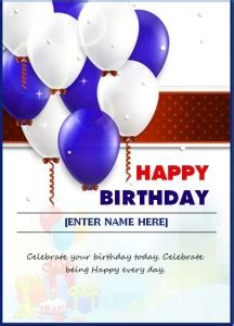 happy birthday wishing card word excel templates