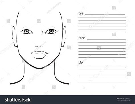 makeup template chart makeup artist blank template stock vector 361487267