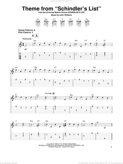 Acquiring music sheet online, explore different resources to discover what you need. Williams - Theme From Schindler's List sheet music for guitar solo (easy tablature)