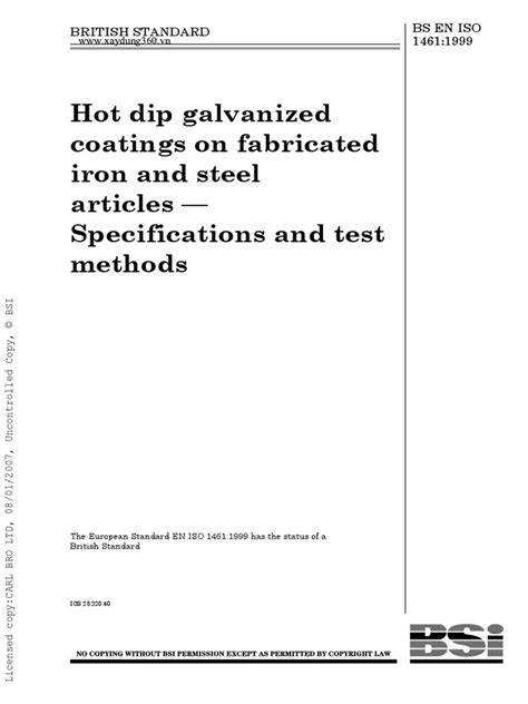 BS en ISO 1461-1999-Hot Dip Galvanized Coatings on Fabricated Iron and Steel Art   Galvanization