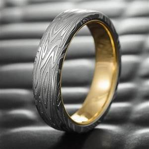 flat damascus steel mens wedding band with 14k gold liner With damascus mens wedding ring