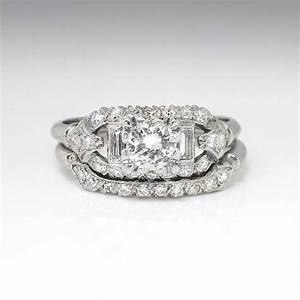 vintage art deco 193039s 81ct tw rare engagement wedding With art deco wedding ring sets