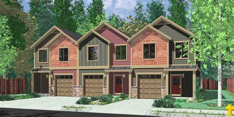 two craftsman house plans triplex house plans multi family homes row house plans