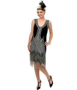 SALE! 1920's Style GREAT GATSBY Black Silver BEADED FLAPPER Dress-LARGE