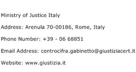 justice phone number ministry of justice italy address contact number of