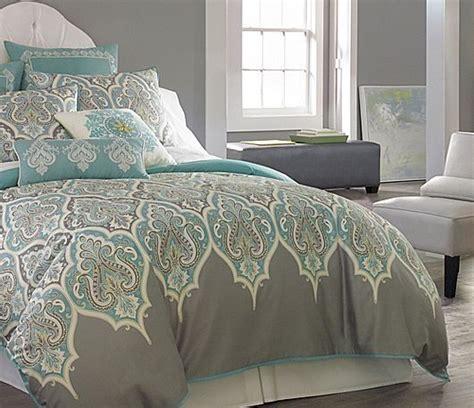 3 pc queen teal gray comforter set aqua blue grey