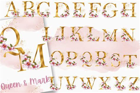 golden cherry blossom alphabet  numbers  lettering