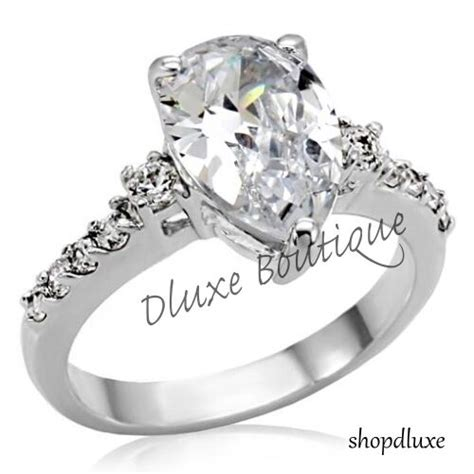 stunning pear shape aaa cz stainless steel women s engagement ring band sz 5 10 ebay