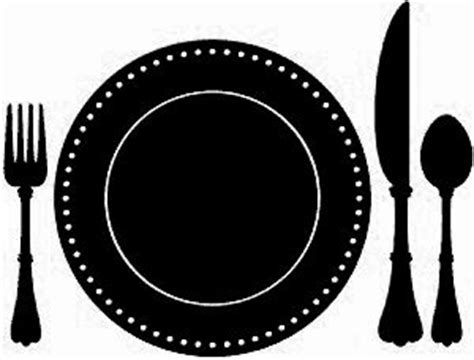 Plate clipart silhouette   Pencil and in color plate