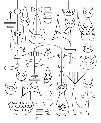 Mid Century Modern Coloring Pages Animals Pattern