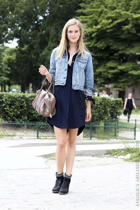 Casual Style With Black Dress And Denim Jacket u00bb Celebrity Fashion Outfit Trends And Beauty Tips