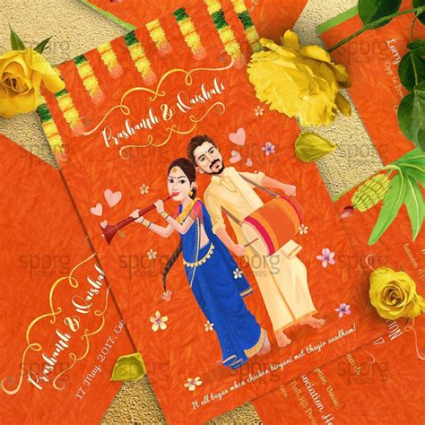 caricature illustrated wedding invitation design  behance