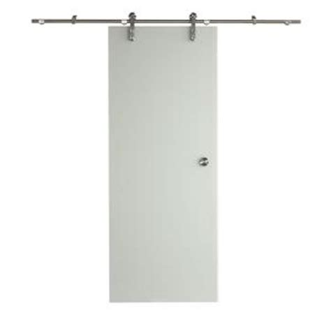 pinecroft 38 in x 97 in glass barn door with sliding