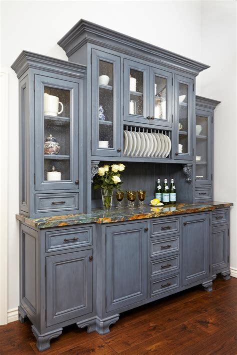 gray kitchen hutch adds storage  kitchen hgtv