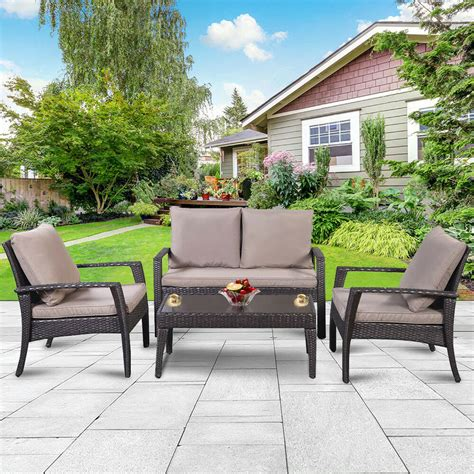 Garden Patio Furniture Sets by 4pc Patio Rattan Furniture Set Tea Table Chairs Outdoor