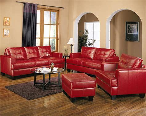 samuel red bonded leather sofa  love seat living room set