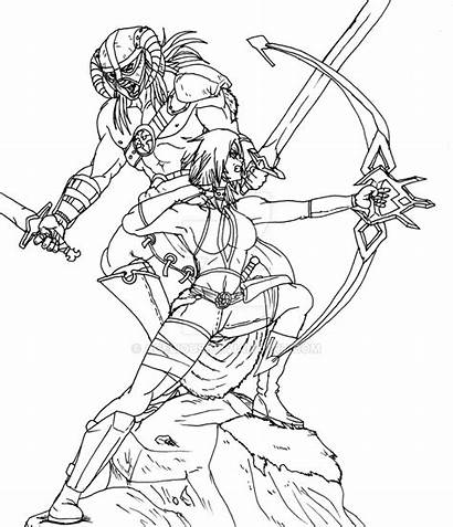 Skyrim Armor Coloring Drawing Daedric Pages Lineart