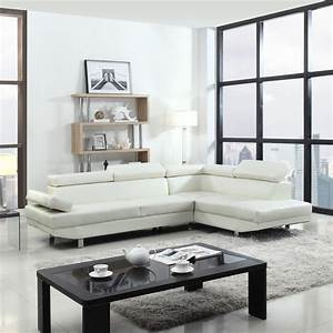 2 piece contemporary modern faux leather white sectional for Elena leather 2 piece sectional sofa sofa chaise