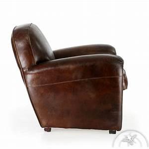Fauteuil Vintage Pas Cher : fauteuil cuir marron vintage havane saulaie ~ Teatrodelosmanantiales.com Idées de Décoration
