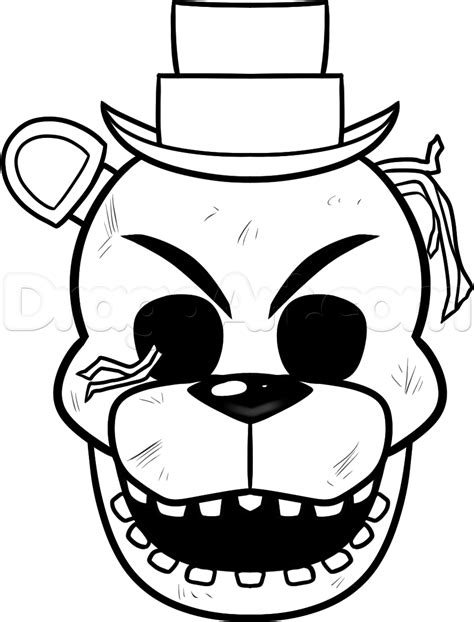 Golden Freddy Kleurplaat by Freddy Coloring Pages Golden Sketch Coloring Page