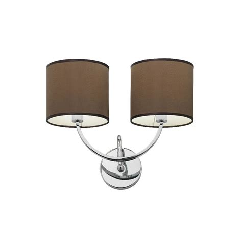 macy 2wbch double wall light chrome with brown shade