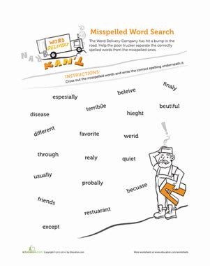 tricky words to spell worksheet education