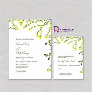 greenery invitation and rsvp set wedding invitation With free printable wedding invitations greenery