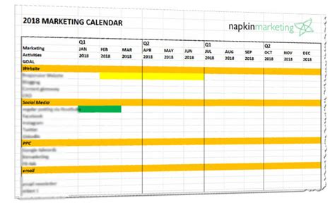 retail schedule template 2018 marketing calendar template napkin marketing