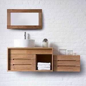 Meuble Bois Salle De Bain : meubles salle de bains bois cube espace aubade ~ Dailycaller-alerts.com Idées de Décoration