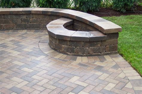 brick paver patio with pit