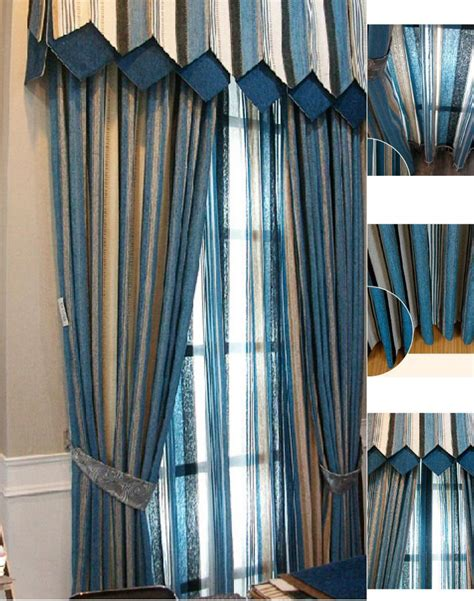 custom chenille blue beige striped curtains not include