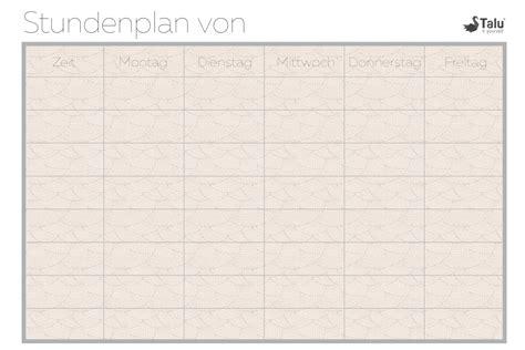 Beim ausdrucken sind neben den bedruckten seiten des dokuments leere tabelle zum ausdrucken leer : Stundenplan zum Ausdrucken - kostenlose PDF Vorlage - Talu.de