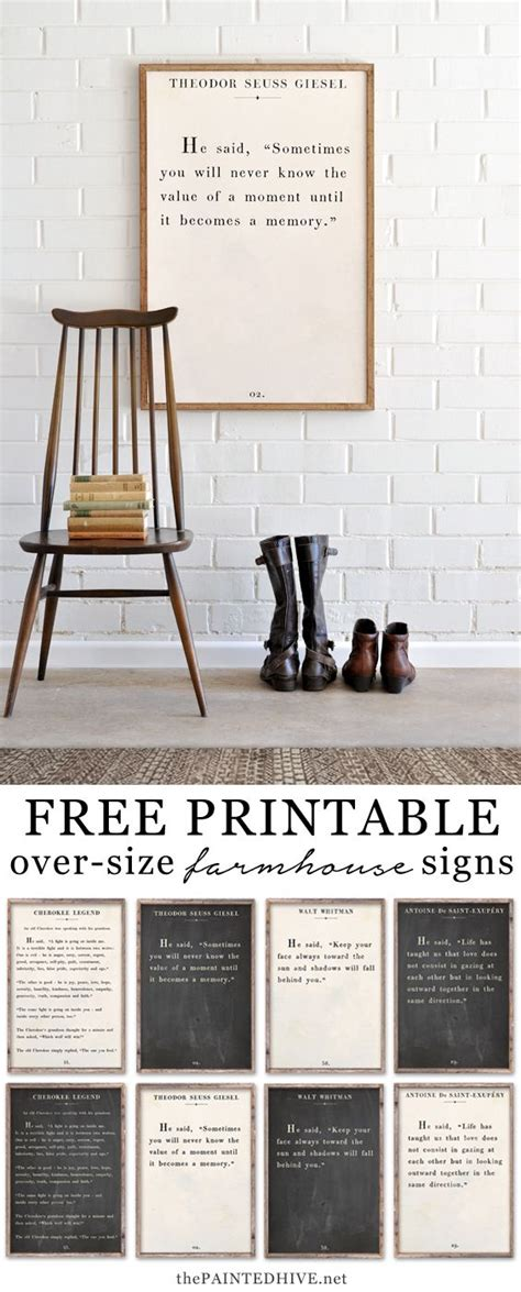 quotes wall room farmhouse printable decor living quote signs framed poster posters