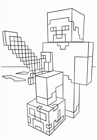 Minecraft Coloring Sword Steve Supercoloring Activity Via