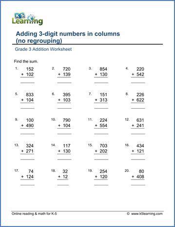 grade  addition worksheet adding  digit numbers