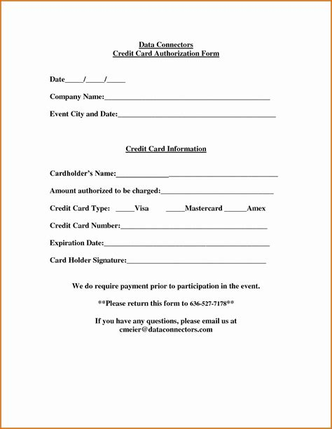 awesome credit card authorization form template