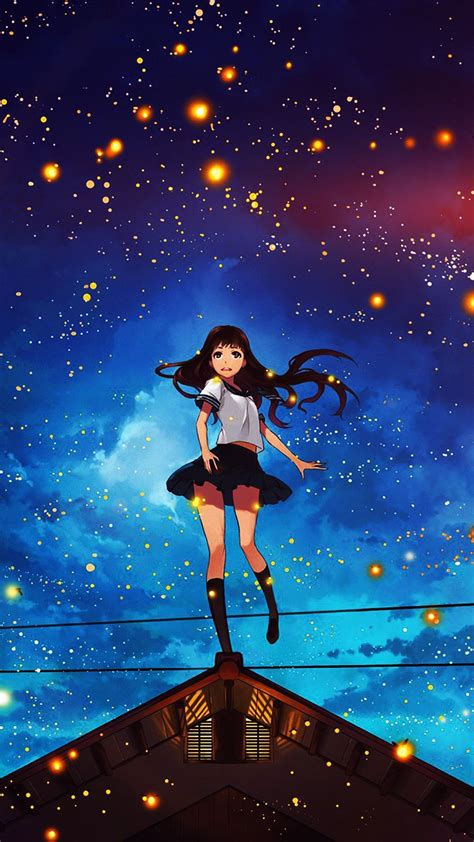Anime Illustration Wallpaper - anime space illustration flare iphone