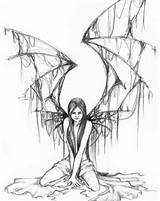 Fairy Gothic Drawing Tattoos Tattoo Stencils Fairies Dark Sketch Getdrawings Innocent Grey sketch template