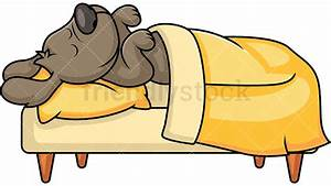 Cute Pet Dog Sleeping In Bed Cartoon Vector Clipart ...