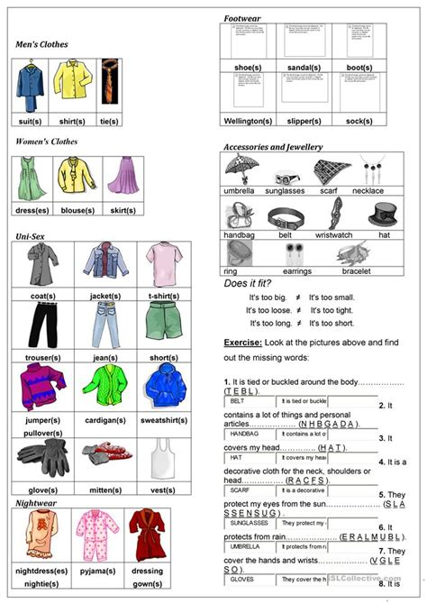 describing clothes worksheet free esl printable